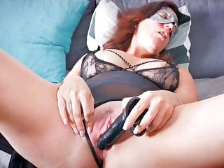 wife masturbating with a black dildo