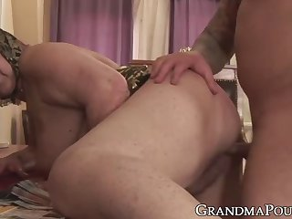 chubby grandma bouncing on cock and having a taste of cum