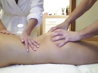 young lucky masseur trying to fuck two busty horny milf