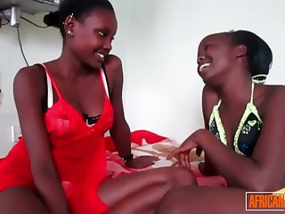 gorgeous african lesbo couple have oiled up pussy party