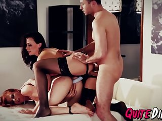 redhead ass banged in taboo threesome with hot milf