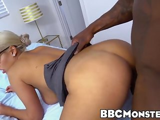 naughty bridgette b knows how to ride that huge black dong
